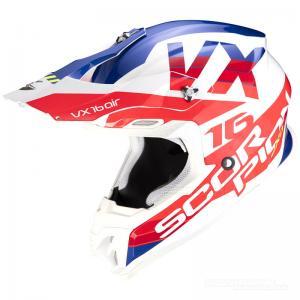 Scorpion VX-16 Crosshjälm (X-Turn) Vit, Röd, Blå