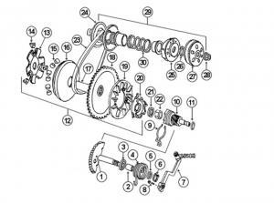 Baotian Sprängskiss - Drivpaketet 139QMA/QMB