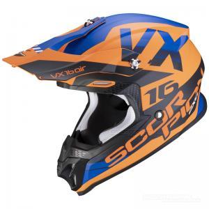 Scorpion VX-16 Crosshjälm (X-Turn) Matt Orange, Blå