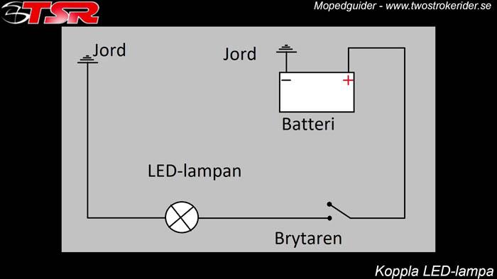 Koppla in LED lampa och strömbrytare   Twostroke
